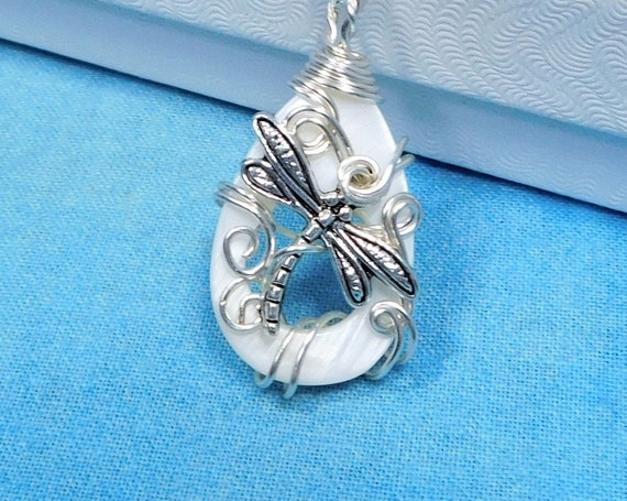 Artistic Wire Wrapped Dragonfly Necklace, Artisan Crafted Wearable Art Memorial Jewelry, Unique Bereavement Present or Sympathy Gift