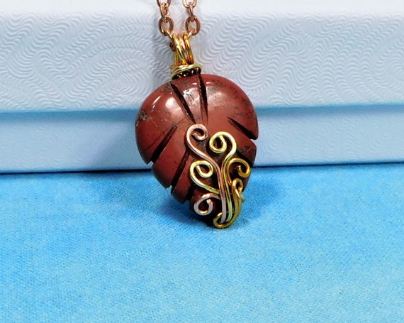 Red Jasper Leaf Pendant, Wire Wrapped Gemstone Jewelry, Artistic Stone Pendant Wearable Art 7th Anniversary Gift or Birthday Present for Her