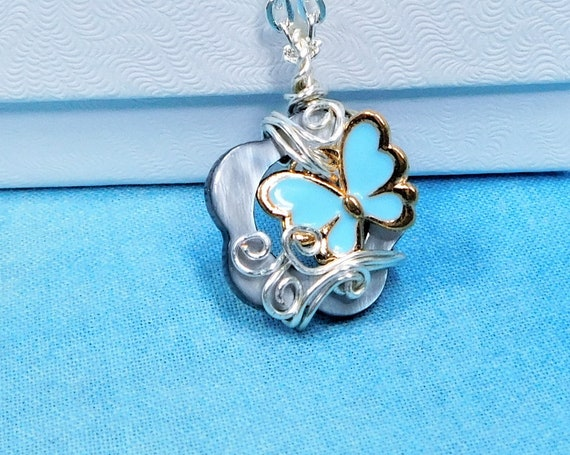 Unique Wire Wrapped Butterfly Pendant, Artisan Crafted Necklace with Butterflies, Artistic Handmade Wearable Art Jewelry for Sympathy Gift