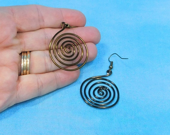 Large Bronze Colored Spiral Pierced Hoop Earrings, Wire Wrap Swirl Loop Dangles, Handcrafted Jewelry Best Friend Gift or Birthday Present