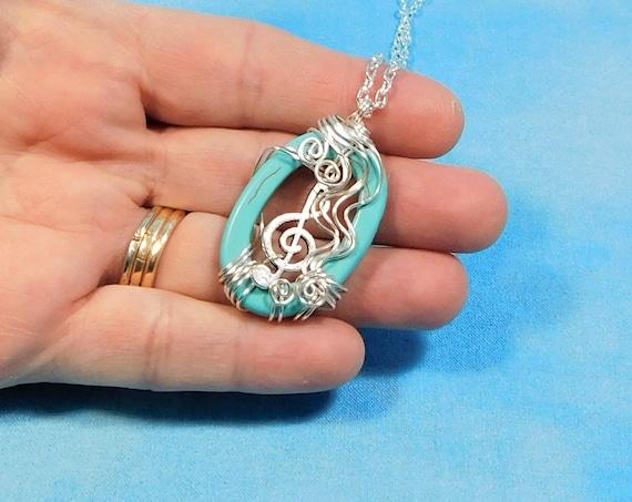 Treble Clef Pendant Music Lover Necklace, Musical Staff Jewelry Music Teacher Gift Ideas, Artistic Handmade Wearable Art Musician Present
