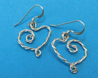 Heart Shaped Earrings Romantic Gift for Her Unique Wire Wrapped Artisan Crafted Jewelry Present for Girlfriend Wife Anniversary Birthday
