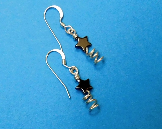 Tiny Star Earrings, Small Gemstone Hematite Dangles, Wearable Art Wire Jewelry Christmas Present Ideas for Women, Gift for Mom from Daughter
