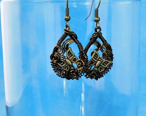 Hand Woven Wire Artistic Butterfly Earrings, Artisan Handcrafted Wearable Art Jewelry Present for Mom, Wife, or Mother in Law Gift Idea