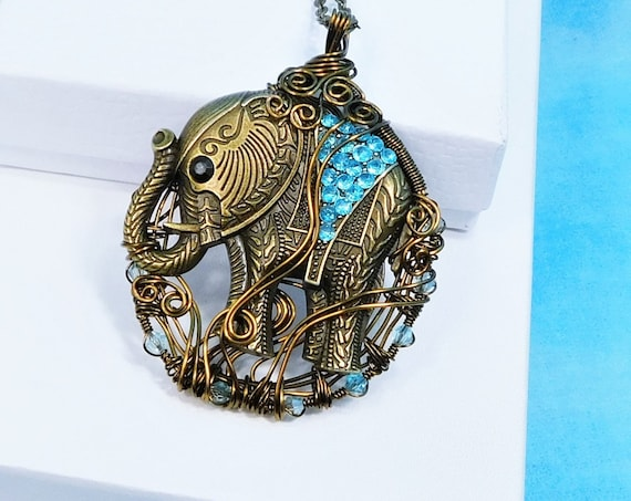 Very Large Copper Wire Wrapped Elephant Necklace, Artisan Handmade Jewelry, Zoo Animal Theme Pendant Birthday or Anniversary Present for Mom