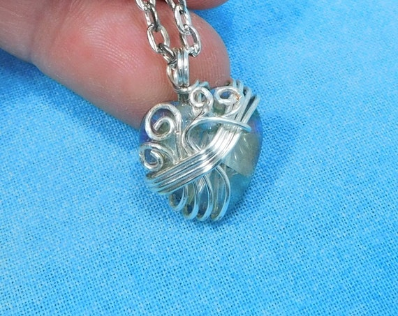 Artistic Wire Wrapped Crystal Heart Pendant, Unique Artisan Crafted Necklace, Wearable Art Jewelry Birthday Present or Anniversary Gift