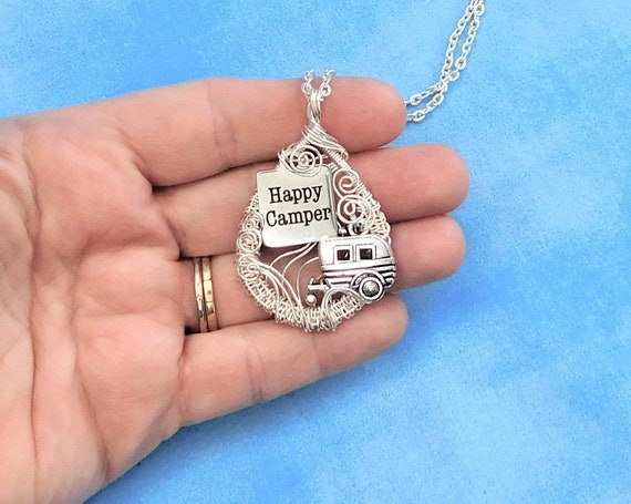 Artisan Crafted Wanderlust Happy Camper Necklace,  Unique Wire Wrapped Travel Trailer Pendant, Artistic Retirement Theme Traveler Jewelry