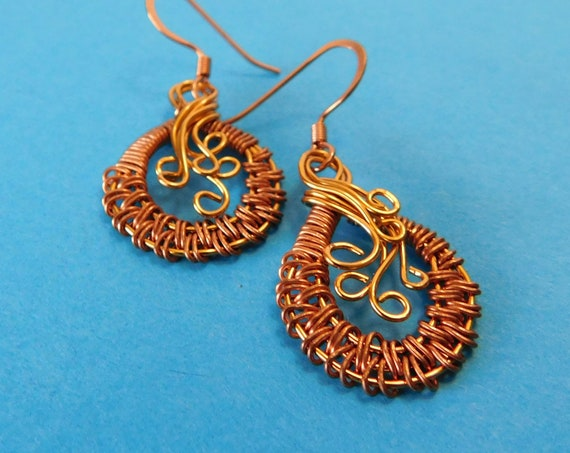 Rustic Boho Earrings, Unique Wire Wrap Jewelry, Woven Copper Dangles, Artistic Handmade Wearable Art, Mother's Day Present Ideas for Women