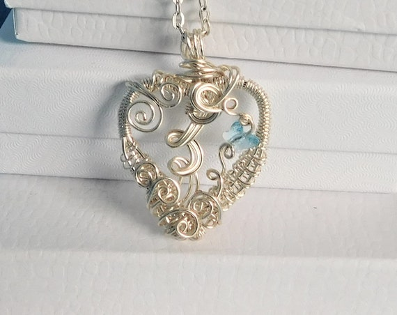 Butterfly Necklace, Heart Pendant, Artisan Crafted Unique Woven Wire Wrapped Jewelry with Blue Swarovski Crystal Butterfly, Present Idea