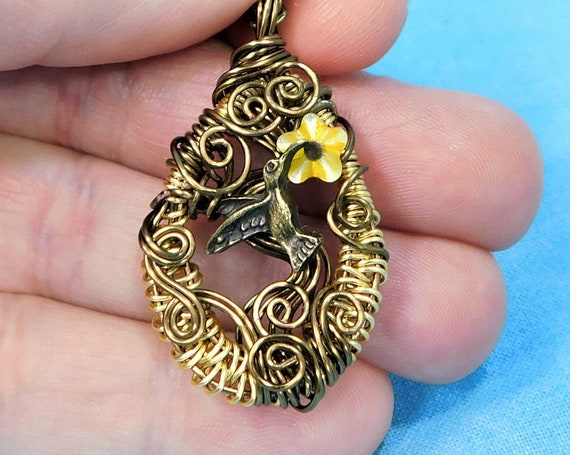 Woven Wire Wrapped Hummingbird Necklace, Artisan Crafted Bird Theme Pendant, Wearable Art Jewelry Bereavement Present or Sympathy Gift