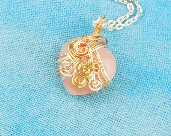 Heart Shaped Rose Quartz Gemstone Necklace, Unique Wire Wrapped Pink Stone Pendant, Wearable Art Jewelry Mother's Day Present for Wife, Mom