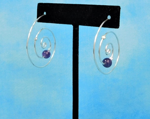 Sterling Silver Hoop Earrings with Gemstones, Amethyst Hoop Earrings