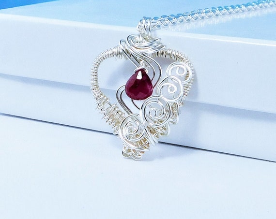 Artistic Ruby Heart Pendant, Artisan Crafted Woven Wire Wrapped Gemstone Necklace, July Birthstone Jewelry Birthday Gift Idea for Women