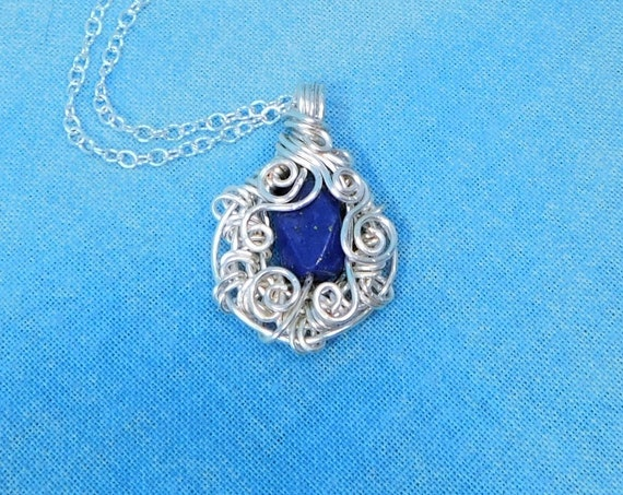 Woven Wire Wrapped Lapis Lazuli Pendant, Artistic Blue Gemstone Necklace Unique 9th Anniversary Gift, Wearable Art Jewelry Present for Wife