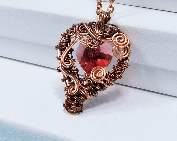 Wearable Art Wire Jewelry Valentine Present Artistic Copper Heart Necklace Copper /& Crystal Heart Pendant 7th Anniversary Gift for Wife