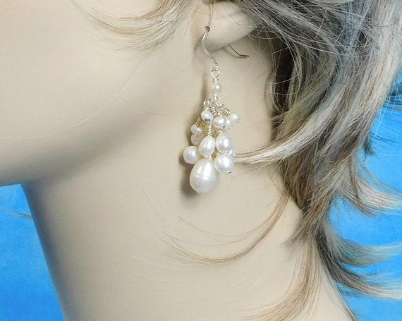 Genuine Freshwater Pearl Earrings, Romantic Jewelry for June Birthday Present for Wife, Girlfriend, Daughter, June Birthstone Birthday Gift