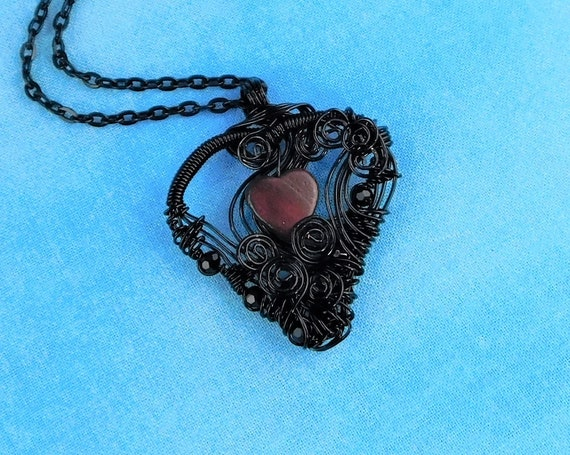 Romantic Black Heart Necklace, Artistic Woven Wire Wrapped Mother of Pearl Heart Pendant Wearable Art Jewelry Present for Wife or Girlfriend