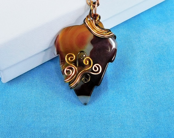Artistic Wire Wrapped Carnelian Necklace, Artisan Crafted Carved Gemstone Leaf Pendant, Wearable Art Jewelry Present for 17th Anniversary