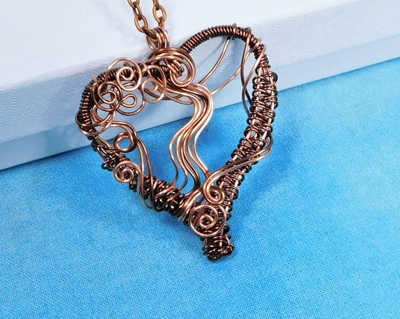 Rustic Copper Heart Necklace ,Unique Woven Wire Pendant, Wearable Art Jewelry for 7th Anniversary, Valentine Gift or Birthday Present