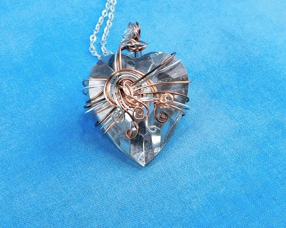 Wire Wrapped Heart Pendant, Handmade Artisan Crafted Wearable Art Jewelry, Women's Romantic Valentine Necklace Present or Mother's Day Gift