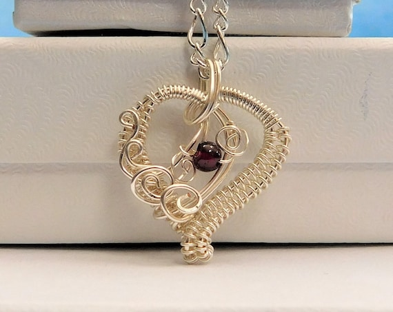 Garnet Necklace Gemstone Heart Birthstone Pendant Artisan Crafted Handmade Unique Wire Wrap Jewelry January Birthday Present Ideas for Women