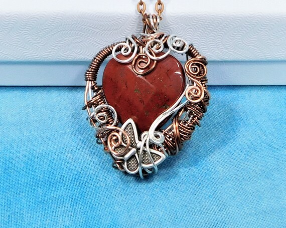 Wire Wrapped Red Jasper Pendant, Artistic Woven Wire Jasper Necklace, Gemstone Heart Butterfly Jewelry Birthday Present or Anniversary Gift