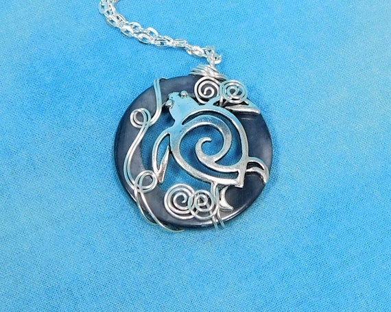 Handcrafted Sea Turtle Necklace, Unique Wire Wrapped Wearable Art Pendant, Animal Lover Ocean Beach Theme Jewelry Birthday Present for Women