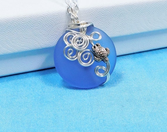 Handcrafted Sea Turtle Necklace, Wire Wrapped Blue Sea Glass Pendant, Animal Lover Ocean Theme Jewelry Present for Women or Best Friend Gift