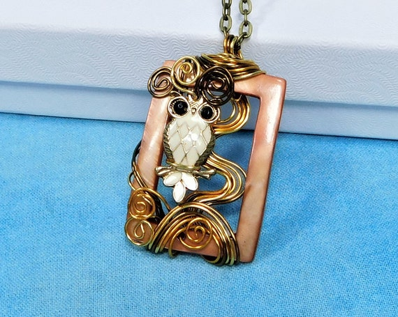 Artisan Crafted Owl Necklace, Copper Wire Wrapped Sculpted Owl in Tree Pendant, Wearable Art Bird Theme Jewelry Present for Wife or Mother