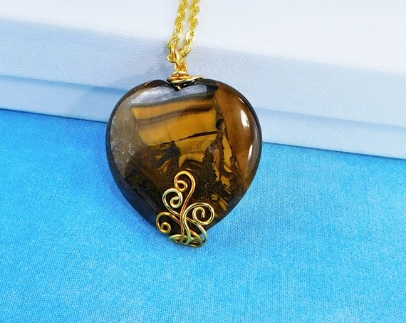 Large Wire Wrapped Gemstone Heart Pendant, Unique Artisan Crafted Tiger Iron Stone Necklace, Handmade Wearable Art Jewelry Present for Women