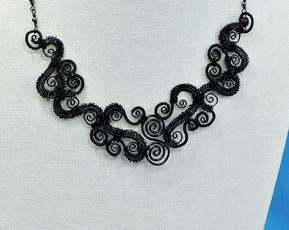 Black Scroll Work Statement Necklace, Elegant Woven Wire Wrapped and Sculpted Jewelry, Artistic Handmade Wearable Art Present Idea for Women
