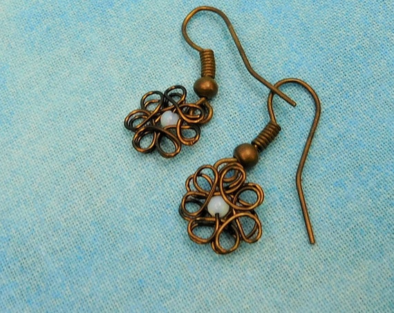 Mother in Law Gift Flower Earrings Artisan Crafted Unique Wire Wrap Artistic Handmade Gemstone Jewelry Simple Tiny Opal Dangles Mother's Day