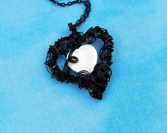 Unique Artisan Crafted Heart Necklace, Woven and Sculpted Black Wire Pendant, Wearable Art Jewelry Mother's Day Present Ideas for Women