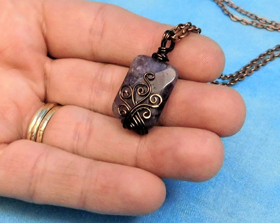 Copper Wire Wrapped Amethyst Pendant, Artisan Crafted Genuine Gemstone Necklace, February Birthstone Wearable Art Jewelry Birthday Gift