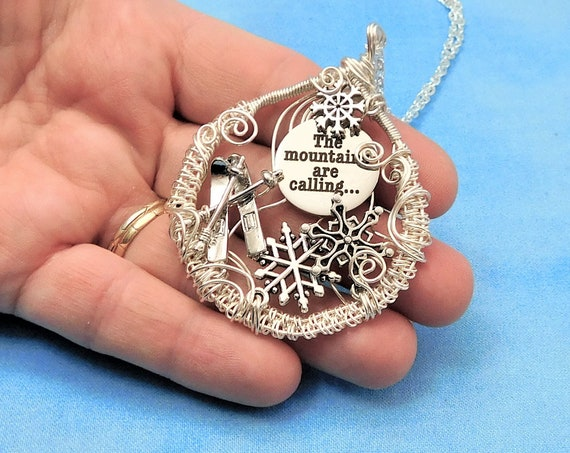 Ski Theme Winter Jewelry Snowflake Necklace, Snow Sports Pendant for Birthday Present or Christmas Gift, Woven Wire Wrapped Wearable Art