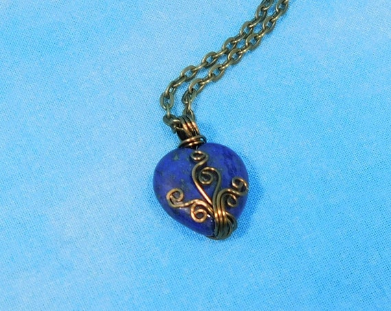 Wire Wrapped Gemstone Heart Pendant, Unique Artisan Crafted Lapis Lazuli Stone Heart Necklace, Handmade Wearable Art Jewelry Gift for Wife