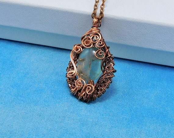 Wire Wrapped Green Fluorite Pendant, Woven Copper Gemstone Necklace, Unique Wearable Art Anniversary Gift or Birthday Present Idea for Wife