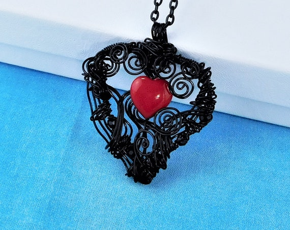 Romantic Red Heart Necklace, Unique Black Woven Wire Wrapped Pendant, Artisan Crafted Artistic Jewelry, Artistic Jewelry Present for Women