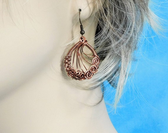 Wire Wrapped Copper Earrings, Rustic Handmade Dangles, Artisan Crafted Woven Wire Jewelry, 7th Anniversary Present for Wife or Girlfriend