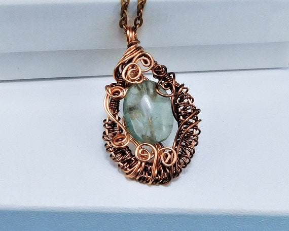Wire Wrapped Green Fluorite Pendant, Copper Gemstone Necklace, Wearable Art Birthday Present, 7th Anniversary Gift for Wife or Girlfriend