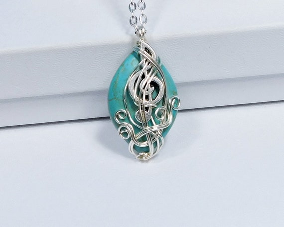 Treble Clef Pendant Music Lover Necklace, Music Teacher Gift Idea, Musical Staff Jewelry, Artistic Handmade Wearable Art for Musician
