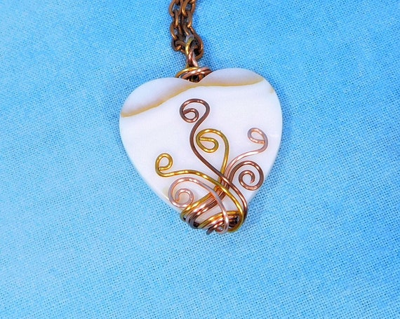Artistic Copper Wire Wrapped Mother of Pearl Heart Necklace, Unique Artisan Crafted Pendant, Wearable Art Jewelry 7th Anniversary Gift