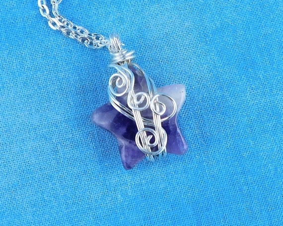 Wire Wrapped Amethyst Star Pendant February Birthstone Jewelry, Unique Gemstone Pendant, One of a Kind Artisan Crafted Wearable Art Present