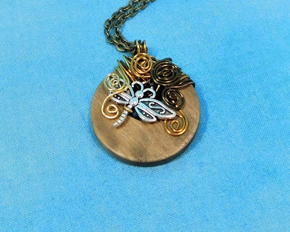 Copper Wire Wrapped Dragonfly Necklace Handmade Wearable Art Pendant, Artisan Crafted Rustic Boho Jewelry Insect Theme Necklace Gift