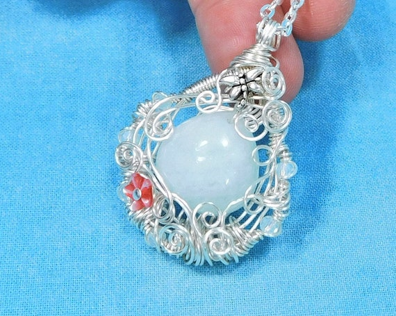 Artisan Crafted Aquamarine Necklace, Wire Wrapped Gemstone Pendant Gift for Wife, March Birthstone Wearable Art Jewelry Birthday Present