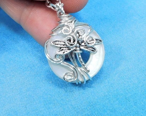 Wire Wrapped Dragonfly Necklace, Artistic Wearable Art Memorial Jewelry, Artisan Crafted Bereavement Pendant Present, Handmade Sympathy Gift
