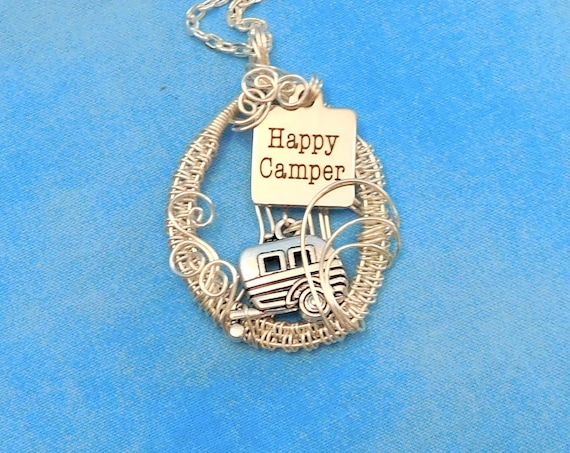 Wanderlust Jewelry Happy Camper Camping Theme Necklace, Unique Handmade Traveling Pendant, Artistic Wearable Art Present Idea for Gypsy Soul