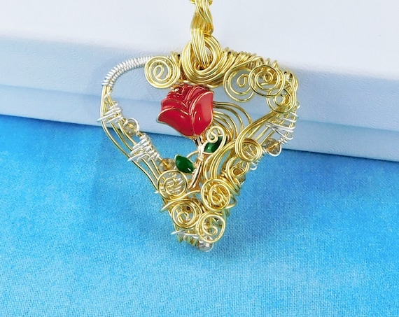 Artisan Crafted Red Rose Necklace, Unique Gold Wire Wrapped Heart Pendant, Artistic Handmade Romantic Anniversary Present Idea for Wife