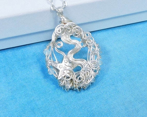 Artistic Silver Star Necklace, Handcrafted Wire Wrapped Celestial Theme Pendant, Artisan Crafted Wearable Art Jewelry Present for Wife