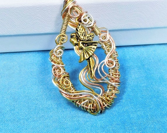 Fairy Necklace Pendant, Artisan Crafted Wire Wrapped Fantasy Jewelry, Artistic Anniversary Gift  for Wife or Birthday Present for Girls
